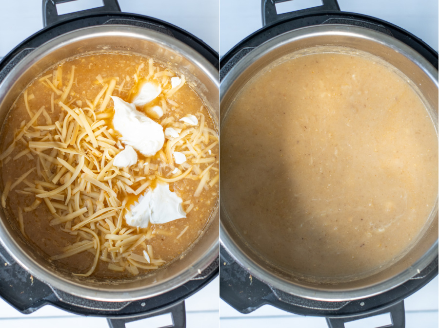 Collage showing steps of adding cheese and sour cream to pot and the smooth creamy soup.