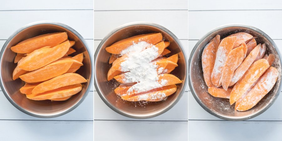 The steps being shown to toss the sweet potato wedges in the cornstarch and salt.
