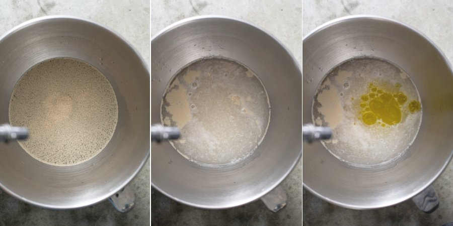 Collage of the yeast being adding and blooming in a bowl of water, then the oil and salt getting added.