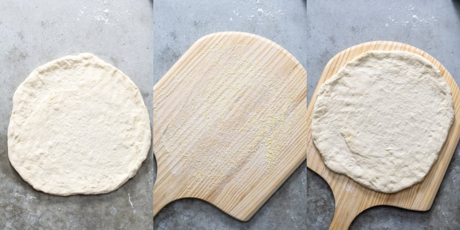 Collage showing a stretched out pizza dough, cornmeal on a pizza peel, and the dough on the pizza peel.