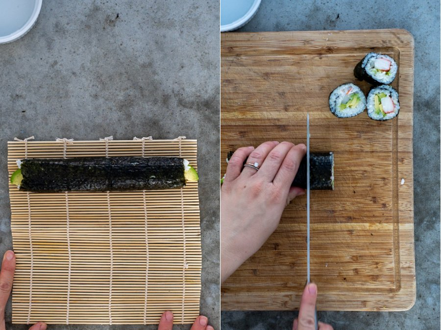 Step 8 of making a California roll, unwrapping it to show the roll and then carefully cutting it into 8 pieces with a serrated knife.