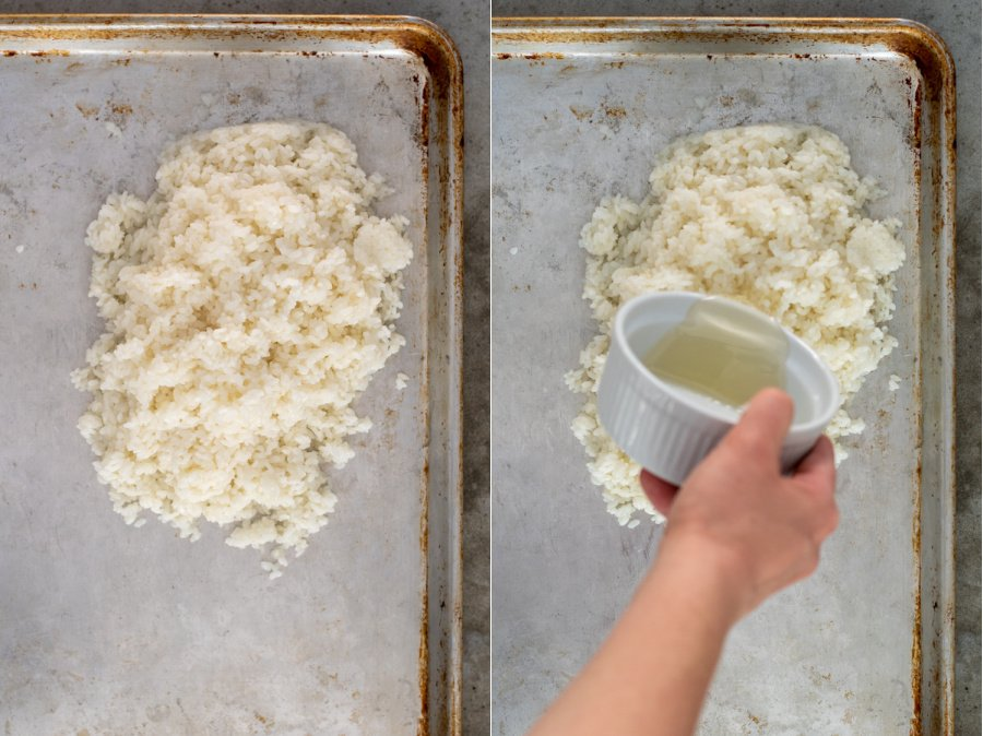 Making sushi rice by putting cooked rice on a sheet pan and muring rice vinegar mixture on it.