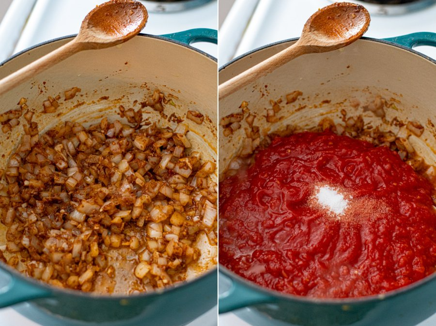 Steps showing the onions cooked with the aromatics and then adding kitchen ready tomatoes and salt.