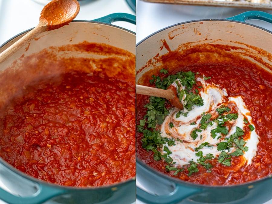 The sauce simmered down slightly and adding plain yogurt and fresh cilantro.