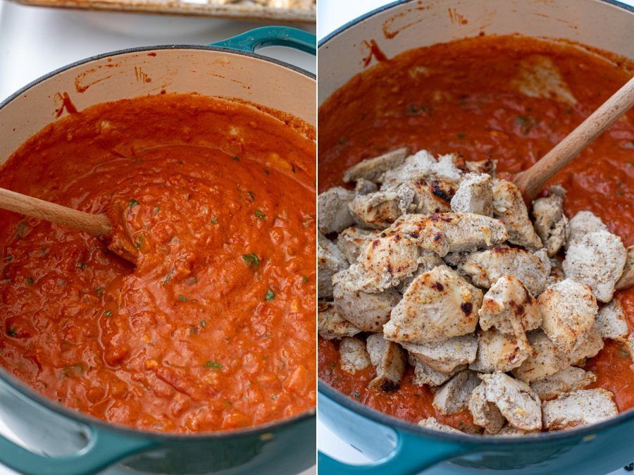 The finished sauce mixed together and the cooked chicken added on top.