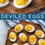 Pinterest Pin with text 'Deviled Eggs', image of many deviled eggs laid out on a wood plater garnished with red paprika.