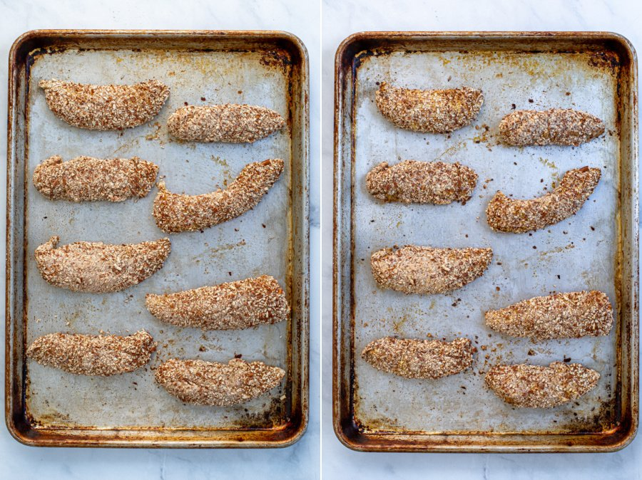 Collage of a before and after of the chicken tenders on a sheet pan.