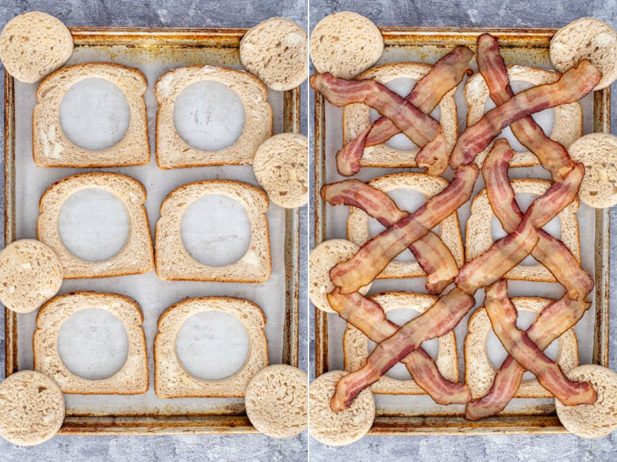 Collage showing the steps of adding the bread with holes to a lined sheet pan and then adding the bacon in an 'X' shape in the holes.