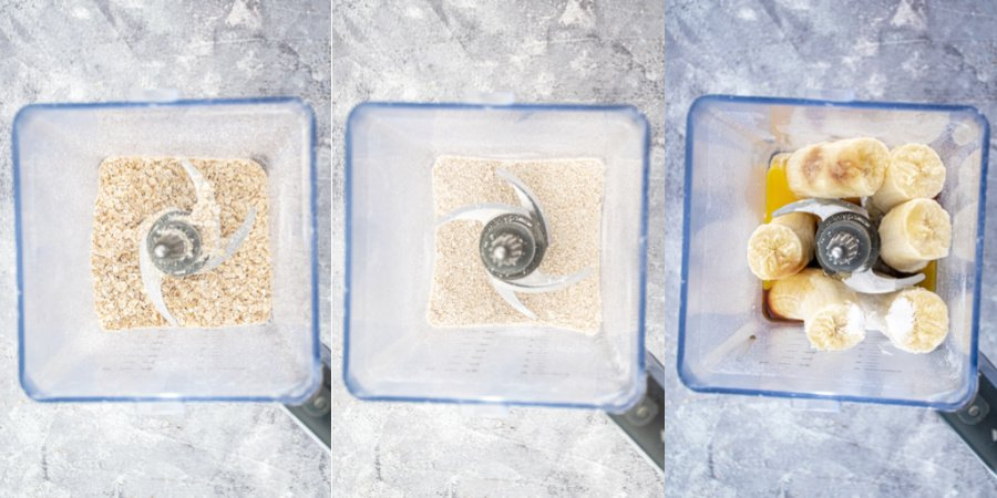 Collage showing the steps of blending down the oats and adding the rest of the ingredients.