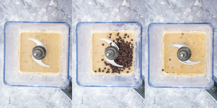 Collage of steps showing the batter blended smooth in a blender and adding in the mini chocolate chips.