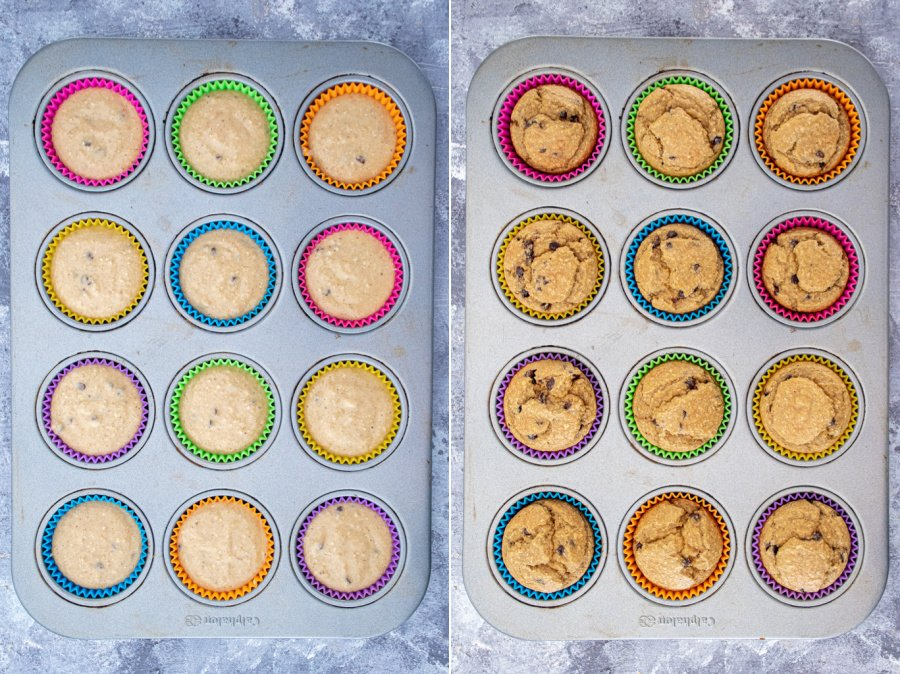Collage of batter in a muffin tin before baking and the cooked muffins in a muffin tin after baking.