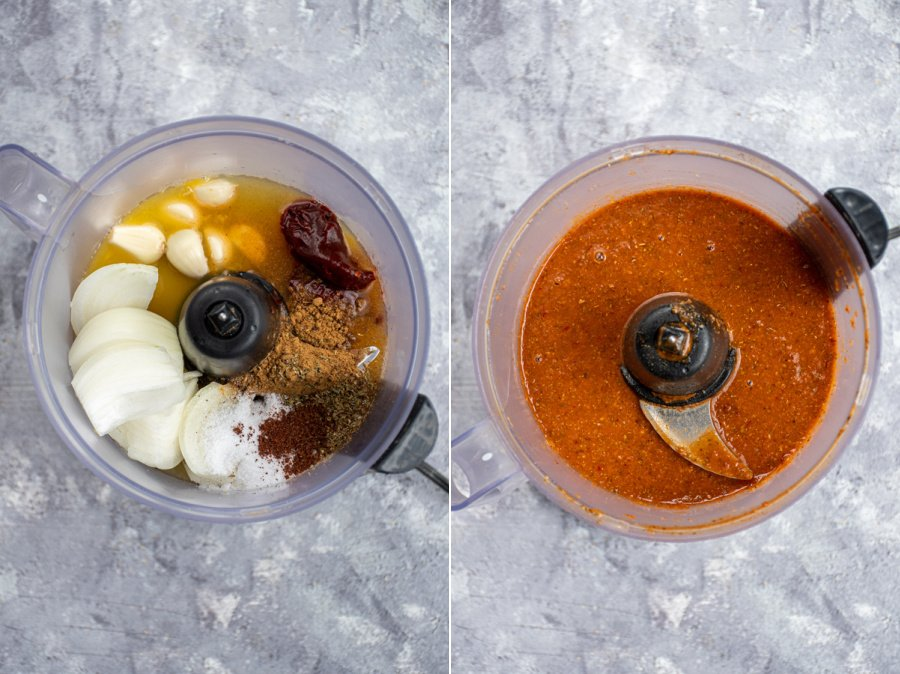 Collage showing the before and after of the sauce for crockpot barbacoa being made.
