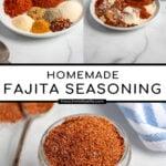 Pinterest Pin with text 'Homemade Fajita Seasoning', image of a jar of spices with a spoon resting full of fajita seasoning.