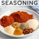 Pinterest Pin with text 'The Best Homemade Fajita Seasoning', image of a plate of spices.