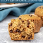 Pinterest Pin with text 'Flourless Banana Muffins', image of a cooked muffin broken open to show the inside.