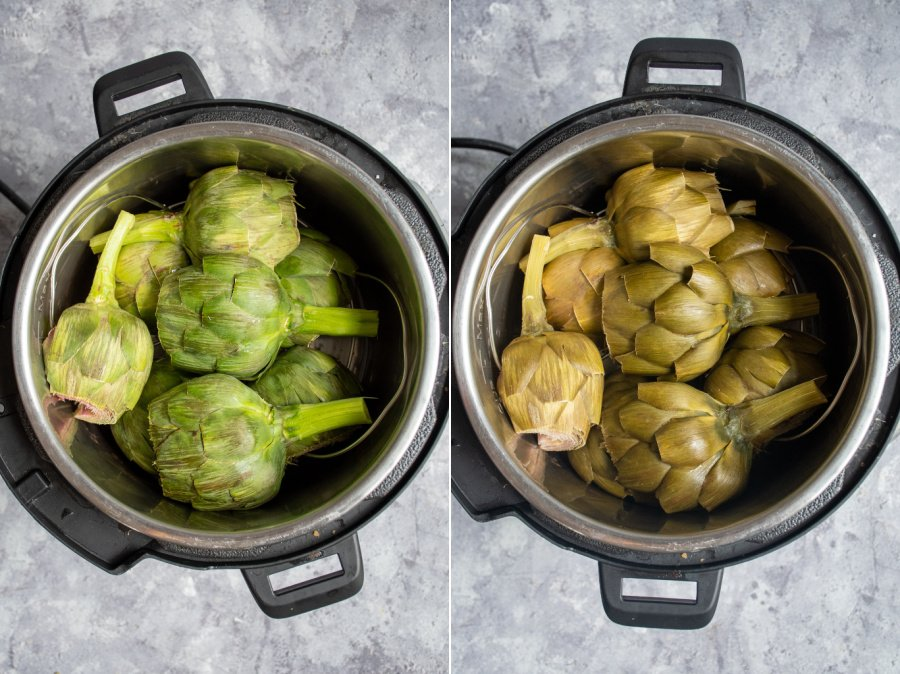 Before and after of cleaned and prepped artichokes for steaming in a pot of a pressure cooker on a trivet.