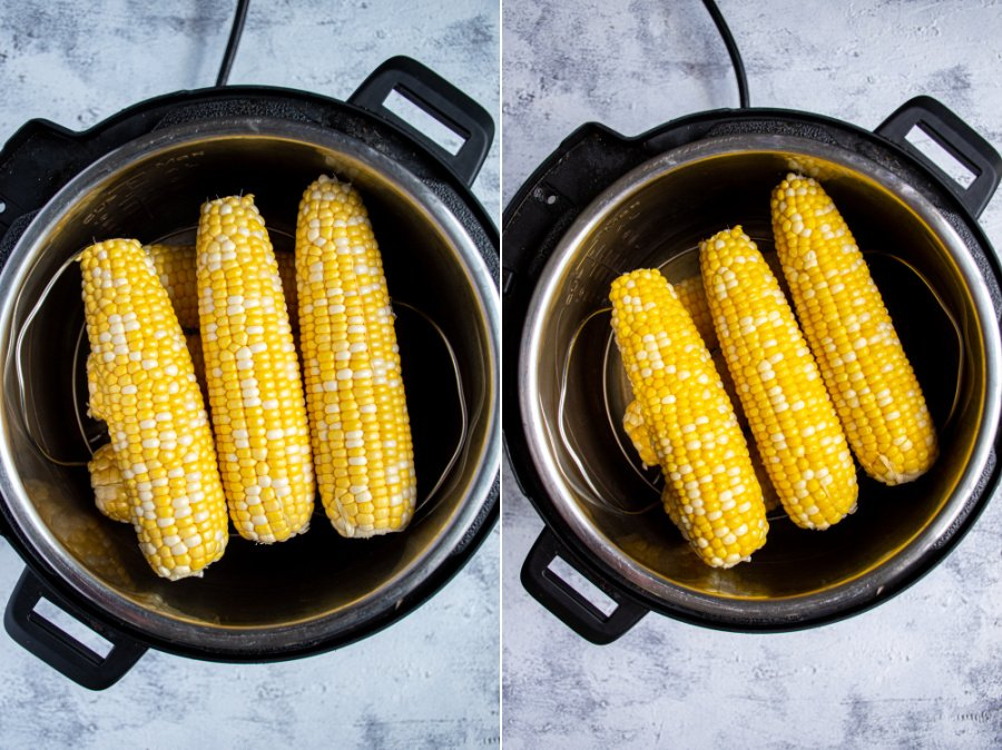 Before and after of a stack of corn on a trivet inside a pressure cooker.
