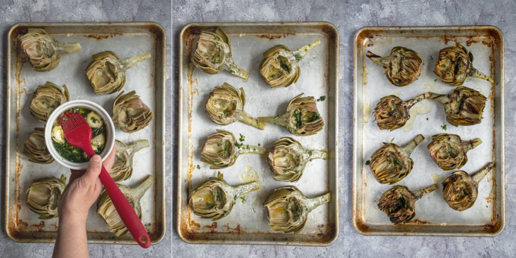 Collage showing off the a platter of steamed artichokes, they are then oiled, and then grilled with char marks.