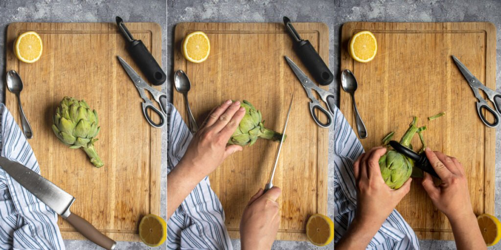 Cleaning and preparing an artichoke step cutting and peeling the stem.