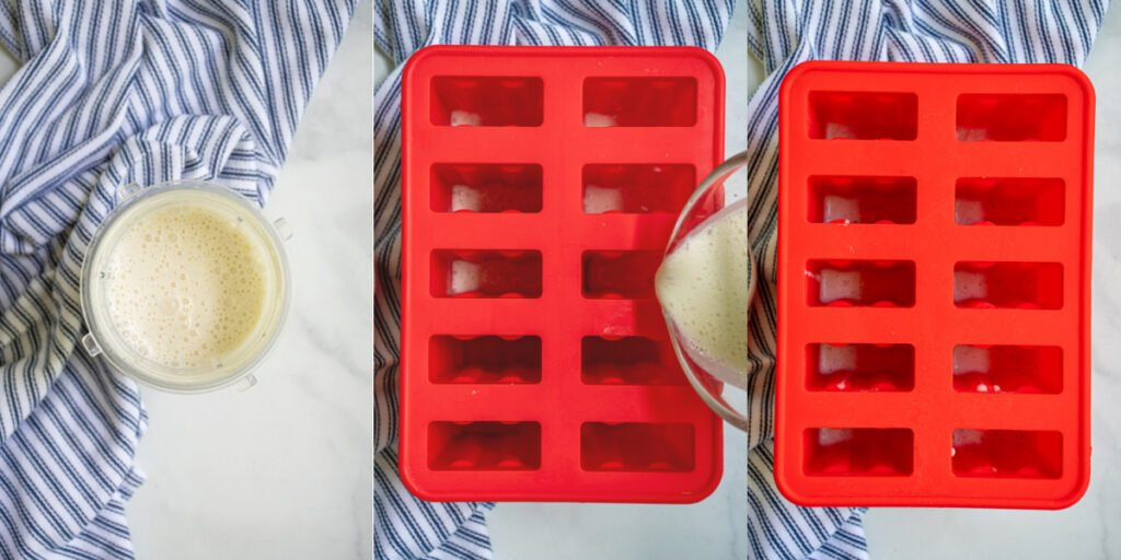 A collage showing the first steps of blending together the yogurt and banana and adding it to a popsicle mold.