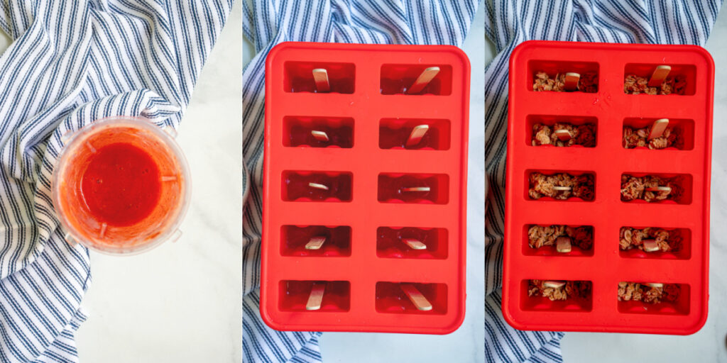 A collage showing the second steps of blending up the strawberries, adding them to the popsicle mold, and adding granola.