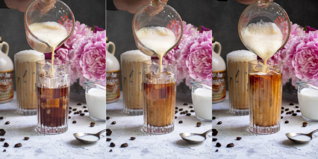Collage of salted maple foam being poured into a glass of cold brew coffee.