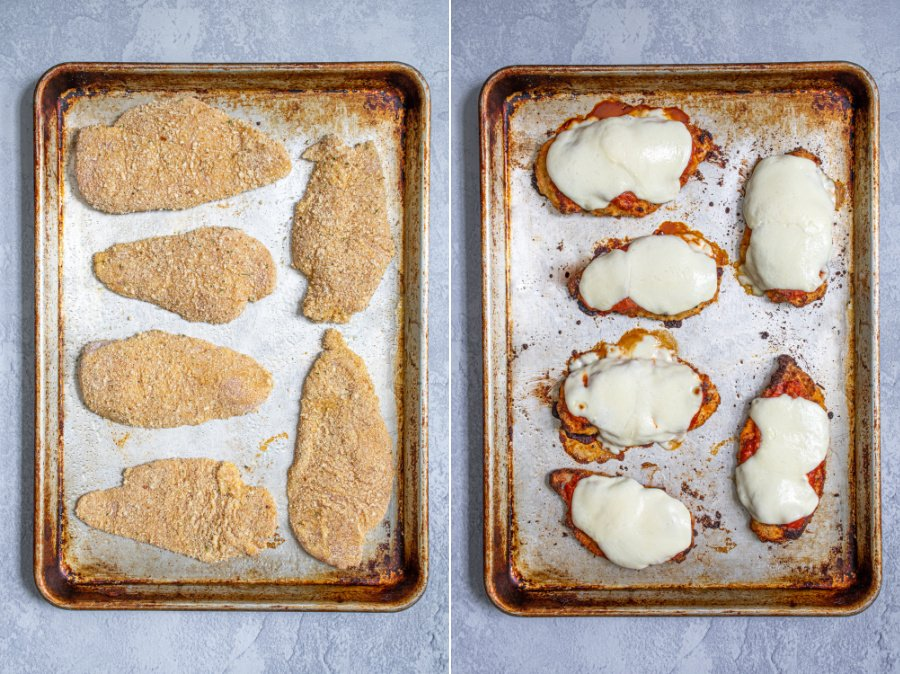 A collage showing the before and after of the chicken cutlets going into the oven and coming out as chicken parm with sauce and melted cheese.