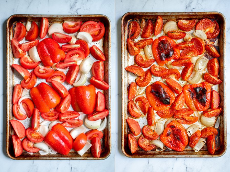 Two photos showing the red peppers, tomatoes, onion, and garlic before and after roasting in the oven.