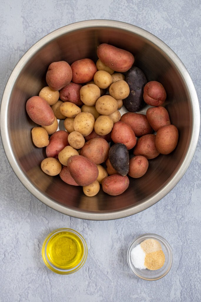 Ingredients needed to make the best air fryer baby potatoes.