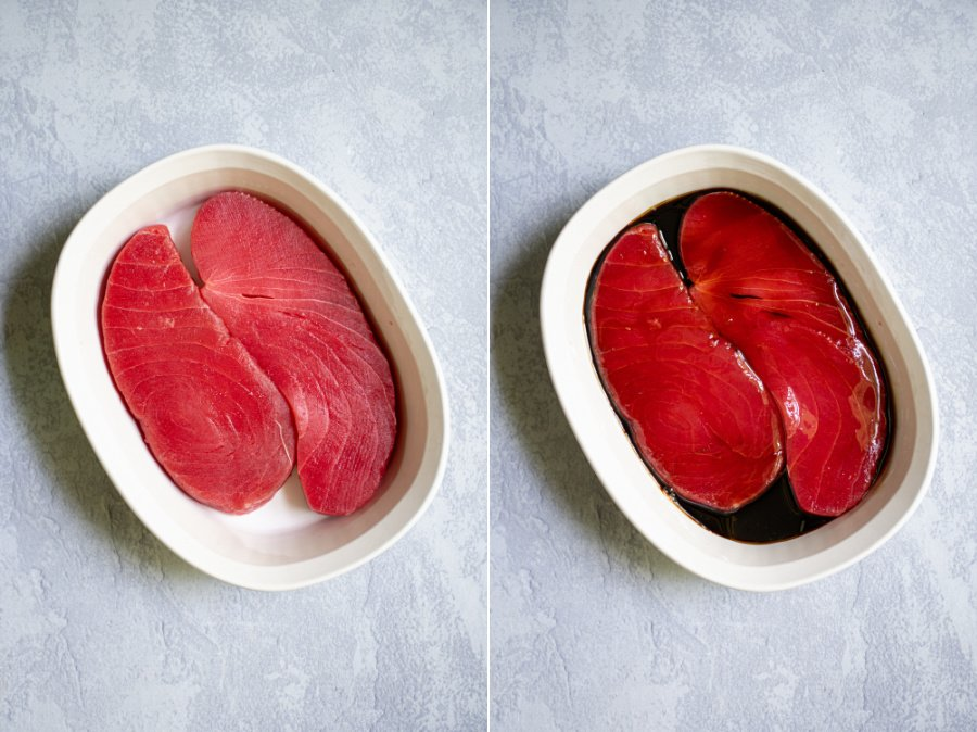 Side by side photo collage showing the tuna steaks and the tuna steaks in marinade.
