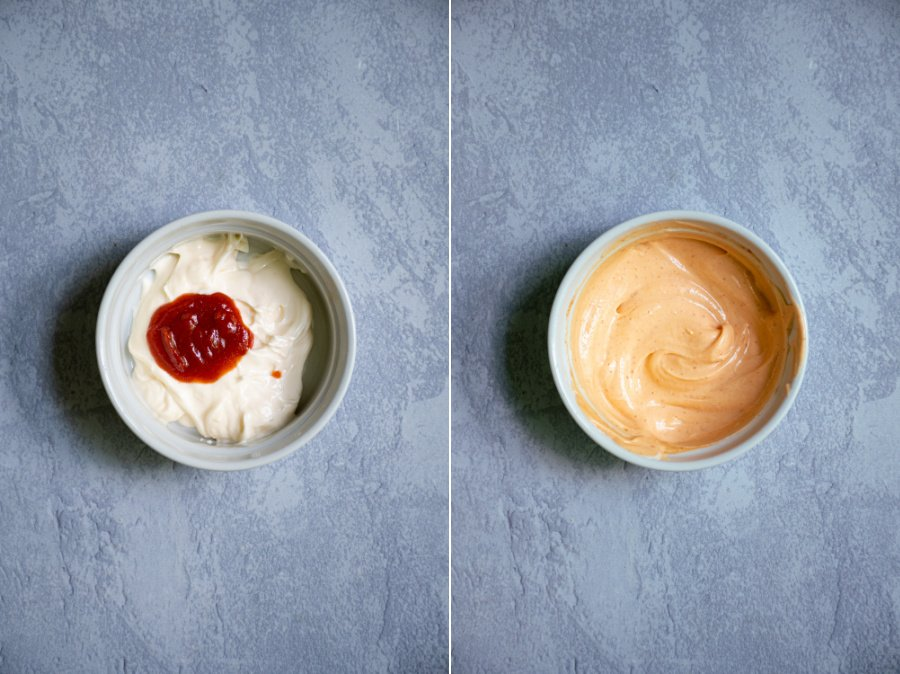 Side by side photos of sriracha and mayo before and after being mixed into sriracha mayo.