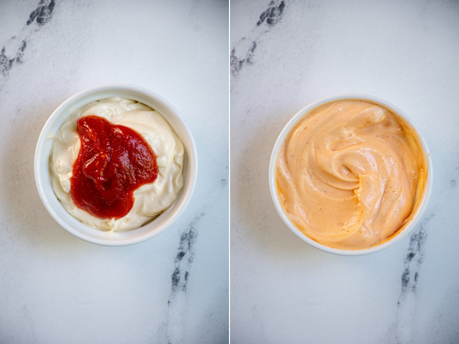 Two photo collage showing the before and after of mixing sriracha and mayo.