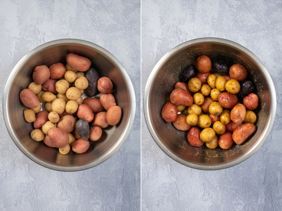Two photos showing the steps to prepping air fryer baby potatoes.