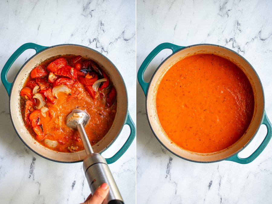 Two photo collage the first showing an immersion blender blending the soup and the second a pot of ready to eat tomato and red pepper soup.