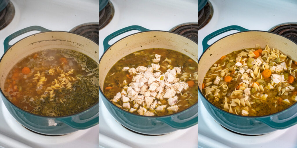 Three photo collage showing the steps of making chicken noodle soup including adding egg noodles, adding the cut chicken, and the final product.