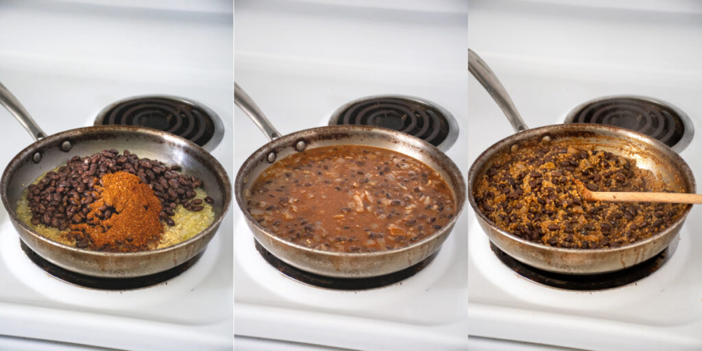 A skillet on the stovetop with quinoa, black beans, and taco seasoning being cooked down with water to make taco meat.