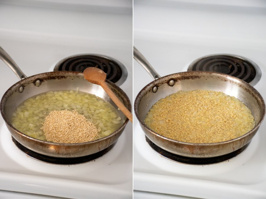 A skillet on a stovetop with onions and quinoa.