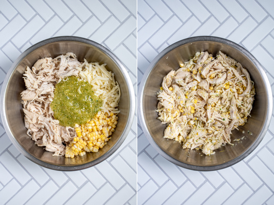 Collage showing a bowl of the ingredients for the filling of green chicken enchiladas and the filling mixed together.