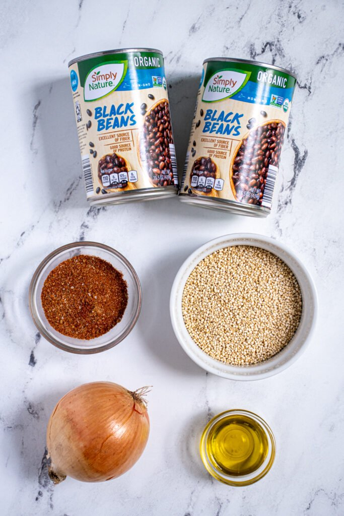 Ingredients for making black bean quinoa taco meat.