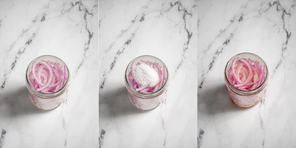Three photo collage showing adding red onions, salt, and red wine vinegar to a jar.
