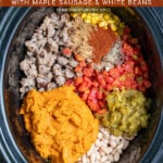 Pinterest Pin with text 'Creamy Crockpot Pumpkin Chili', images of crockpot with ingredients.
