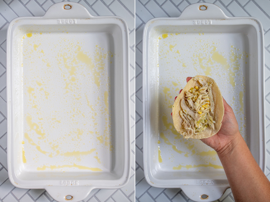 A collage of greased baking pan and a hand showing a corn tortilla with chicken filling.