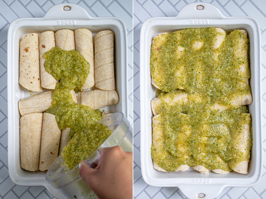Collage showing green sauce being poured onto filled tortillas and then spread around.
