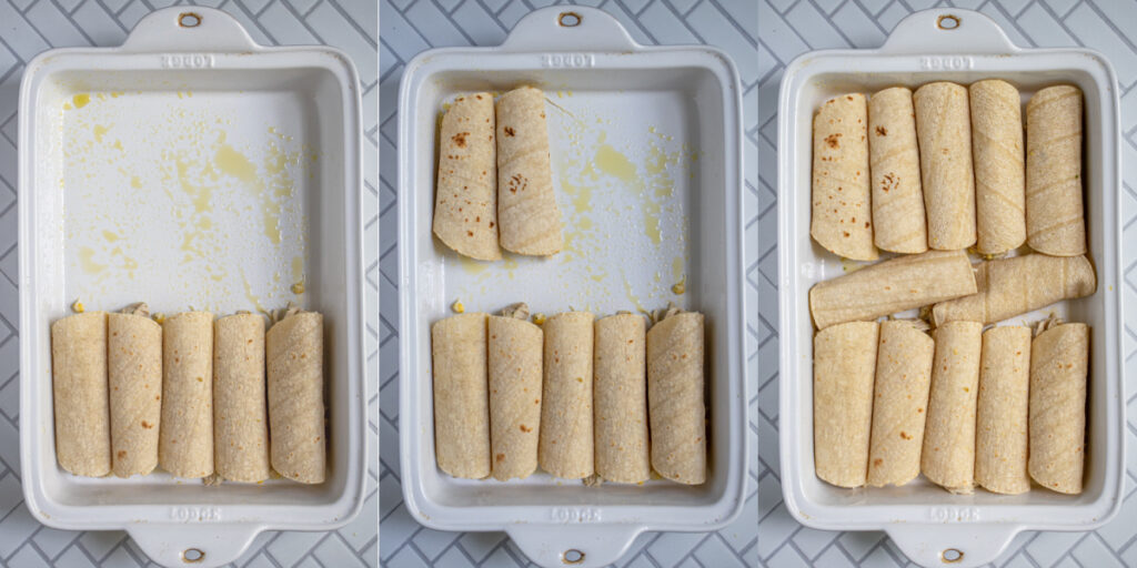 Wrapped tortillas in a collage as they fill up a baking dish.