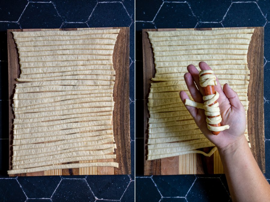 A collage showing strips of crescent dough and a hand wrapping up a hot dog to look like a mummy with the dough strips.