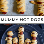 Pinterest Pin with text 'Mummy Dogs', image of mummy dogs with mustard eyes on a black plate.