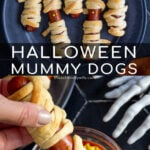 Pinterest Pin with text 'Halloween Mummy Dogs', image of mummy dogs with mustard eyes on a black plate.