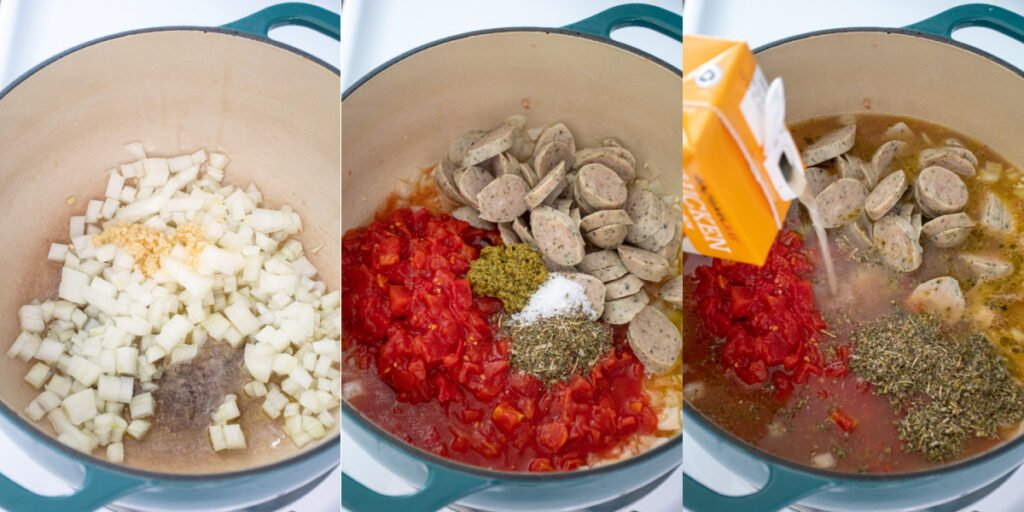 A collage of the first steps to making tortellini soup including dicing onions, add the seasonings, sausage, and broth.