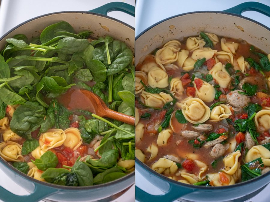 Collage showing the steps of making tortellini soup showing adding the spinach and stirring it in so the soup is ready to serve.
